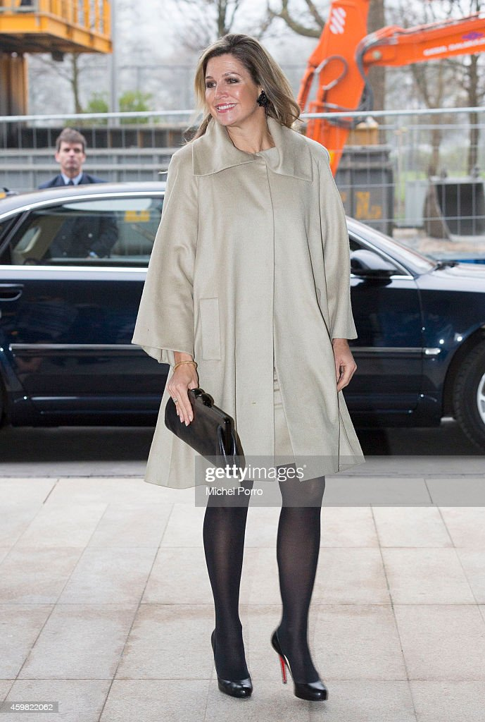 Queen Maxima of The Netherlands arrives to receive the Dutch Sustainable Growth Report on December 2, 2014 in Amsterdam The Netherlands.