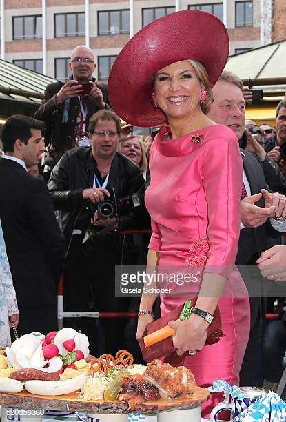 Queen Maxima of the Netherlands at 'Viktualienmarkt' during a twoday visit of King WillemAlexander and Queen Maxima of the Netherlands in Bavaria to...
