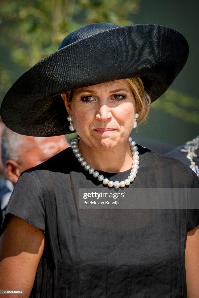Queen Maxima of The Netherlands attend the MH17 remembrance ceremony and the unveiling of the National MH17 monument on July 17, 2017 in Vijfhuizen, Netherlands. The momument is designed by Ronald A. Westerhuis and is placed in a tree park 'Green Ribbon' designed by Robbert de Koning with 298 trees representing each victim of the MH17 crash on 17 July 2014.
