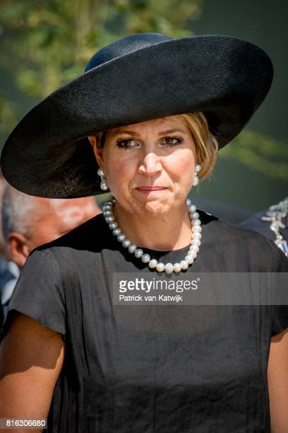 Queen Maxima of The Netherlands attend the MH17 remembrance ceremony and the unveiling of the National MH17 monument on July 17 2017 in Vijfhuizen...