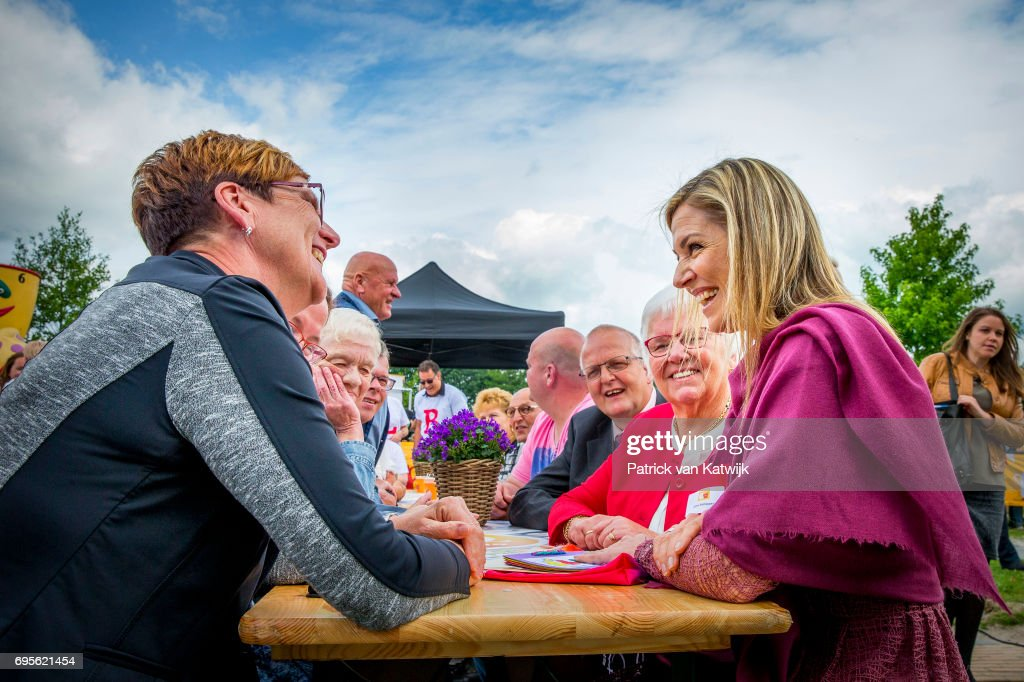 Queen Maxima of The Netherlands attends a Burendag event, where she gave the start signal for the 12 edition of Neighbour's Day (Burendag) on June 13, 2017 in Nieuw-Buinen, Netherlands. During Neighbour's Day residents organize activities which bring the neighbourhood together. The day is organized by the Oranje Foundation of which Queen Maxima is a patron.