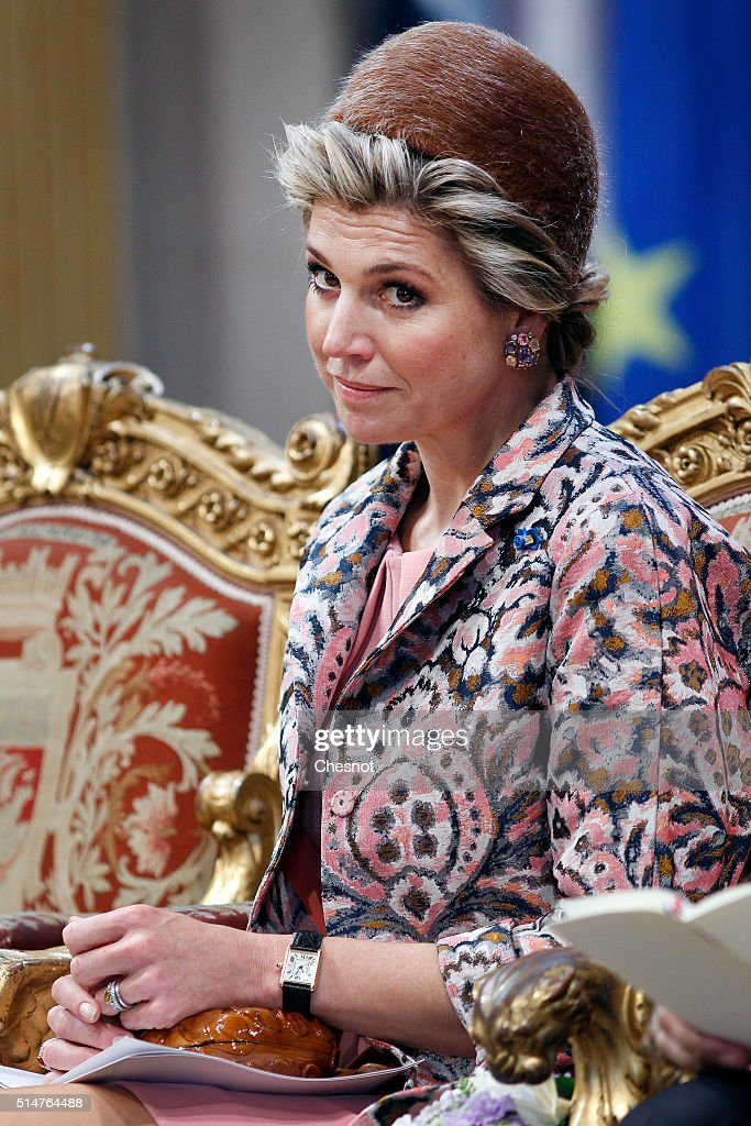 Queen Maxima of the Netherlands attends a ceremony at the Paris city hall on March 11, 2016 in Paris, France. Queen Maxima and King Willem-Alexander of the Netherlands are on a two-day state visit in France.