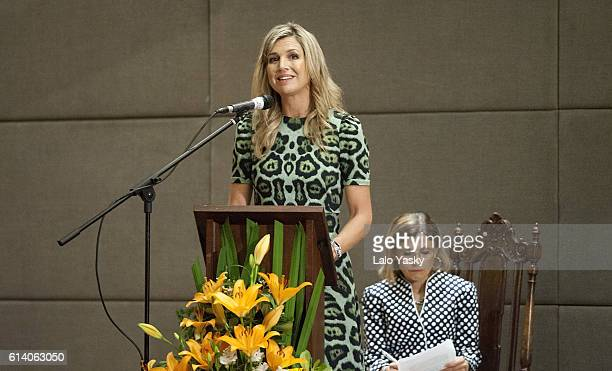 Queen Maxima of The Netherlands attends a conference at the UCA on October 11 2016 in Buenos Aires Argentina