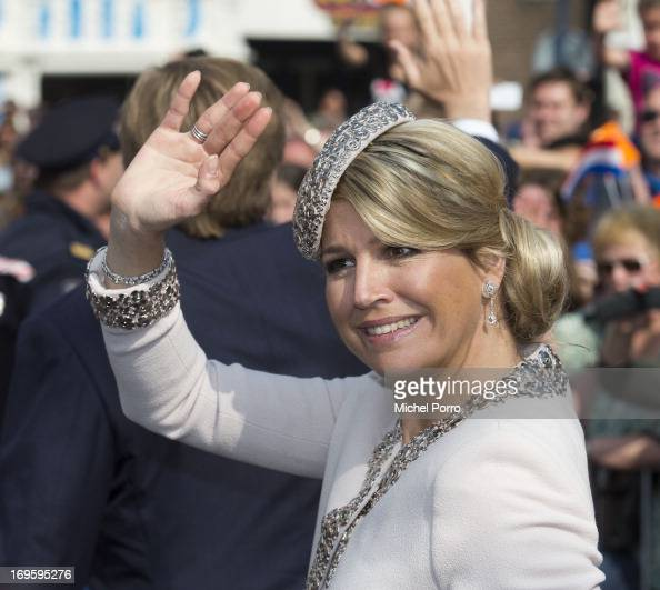 Queen Maxima of The Netherlands attends activities during their one day visit to Groningen and Drenthe provinces on May 28 2013 in Assen Netherlands