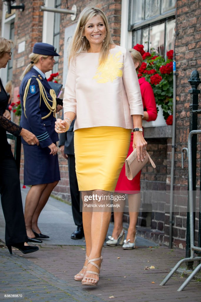 Queen Maxima of The Netherlands attends the 650th anniversary of the Bartholomeus Gasthuis on August 24, 2017 in Utrecht, Netherlands.The Bartholomeus gasthouse was founded in 1367 by an unknown citizen of Utrecht as shelter for pilgrims and homeless.