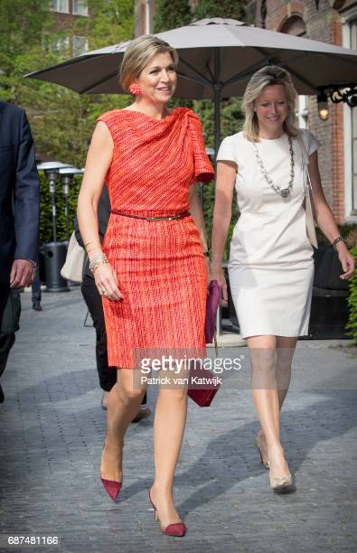 Queen Maxima of The Netherlands attends the annual symposium Wijzer in Geldzaken as honorary chairwoman of the Platform Wijzer in Geldzaken on May 23...