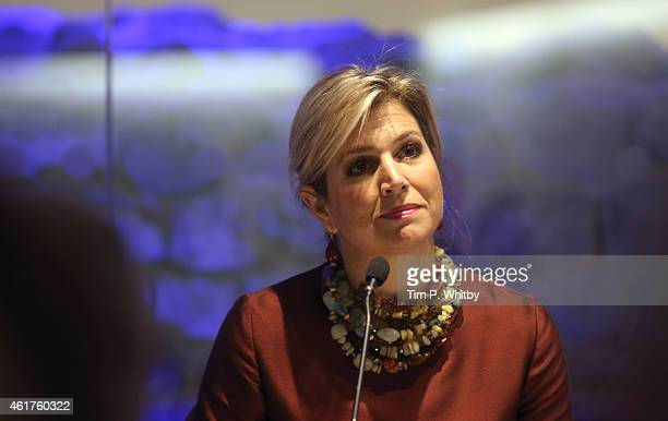 Queen Maxima of The Netherlands attends the Financial Inclusion The Next Move Forward conference at America Square Conference Centre on January 19...