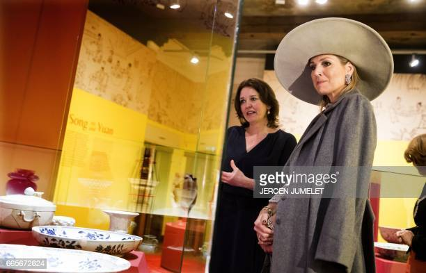 Queen Maxima of the Netherlands attends the opening of the exhibition Forbidden Porcelain Exclusive to the emperor in Delft on April 7 2017 The...