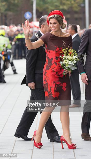 Queen Maxima of The Netherlands attends the opening of the new Markthal on October 1 2014 in Rotterdam Netherlands The horseshoeshaped arch is the...