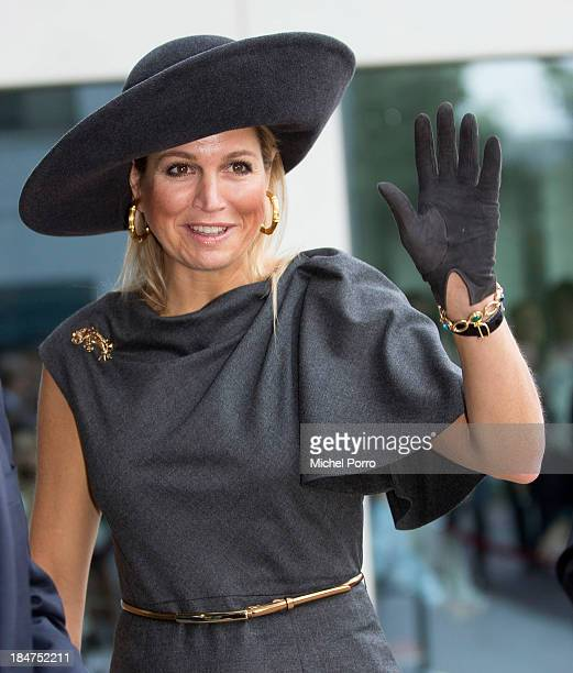 Queen Maxima of The Netherlands attends the opening of the Royal Friesland Campina Innovation Centre on October 16 2013 in Wageningen Netherlands
