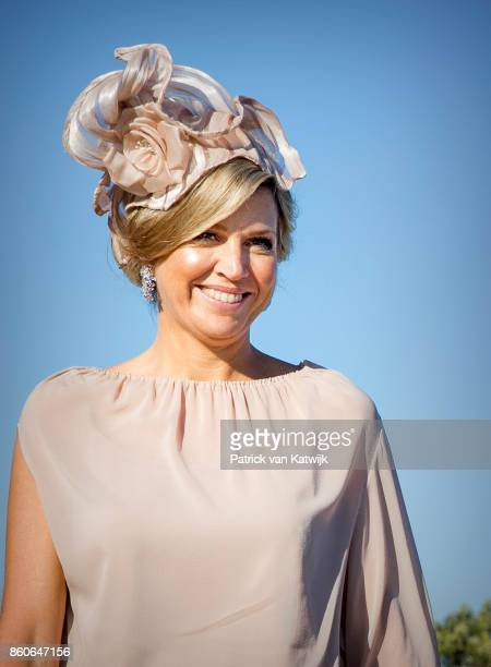 Queen Maxima of The Netherlands depart from Military airport Figo Madura on October 12 2017 in LISBON Portugal