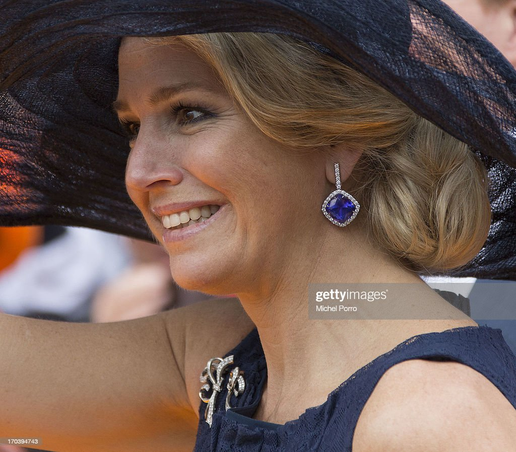 Queen Maxima of The Netherlands during an official visit as part of the Coronation Tour on June 12, 2013 in Roosendaal, Netherlands.