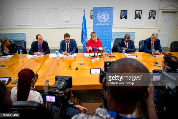 Queen Maxima of The Netherlands during the debriefing and press conference at the UN local office on November 2 2017 in Abuja Niger