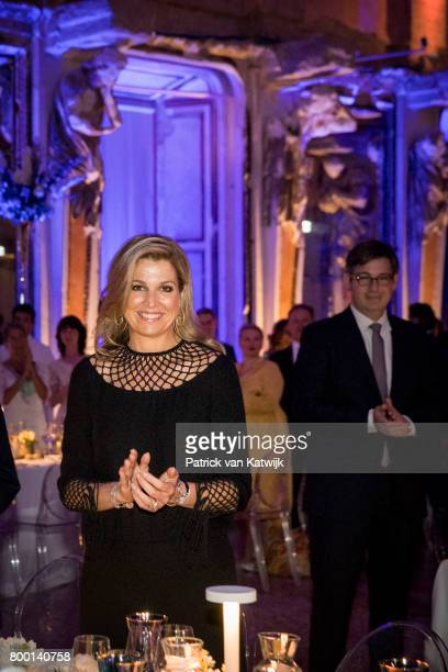 Queen Maxima of The Netherlands during the Holland Trade Dinner during the third day of a royal state visit to Italy on June 22 2017 in Rome Italy