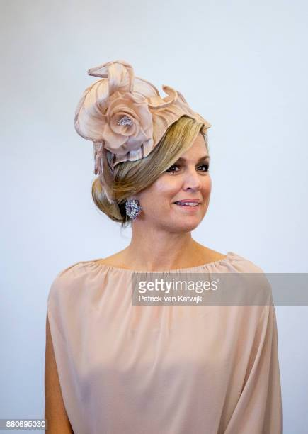 Queen Maxima of The Netherlands during the meeting with the Dutch Society in Portugal at Cidadela de Cascais on October 12 2017 in Cascais Portugal