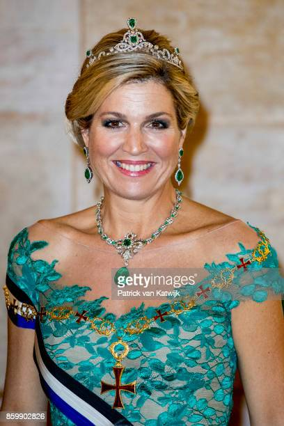 Queen Maxima of The Netherlands during the official state banquet hosted by President Marcelo Rebelo de Sousa of Portugal at the Palacio da Ajuda on...