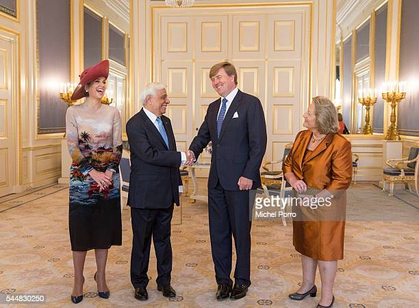 Queen Maxima of The Netherlands Greek President Prokopis Pavlopoulos King WillemAlexander and Vlasia Pavlopoulou pose for the official photo at the...