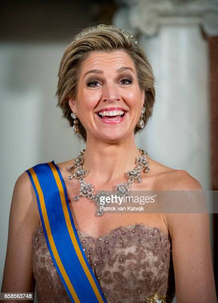 Queen Maxima of The Netherlands host an state banquet for President Mauricio Macri of Argentine and his wife Juliana Awada at the Royal Palace on...