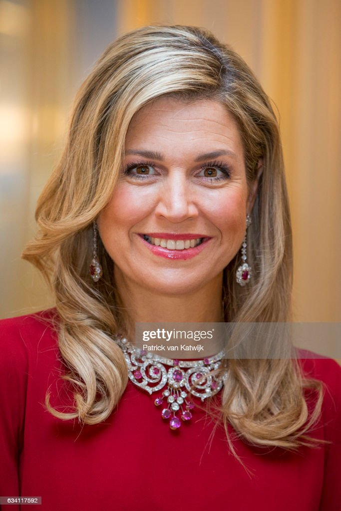 Queen Maxima of the Netherlands hosts a dinner in honor of German president Joachim Gauck at Palace Noordeinde on February 6, 2017 in The Hague, Netherlands.