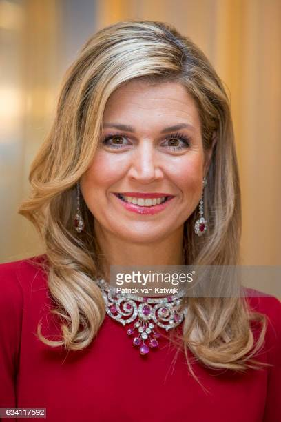 Queen Maxima of the Netherlands hosts a dinner in honor of German president Joachim Gauck at Palace Noordeinde on February 6 2017 in The Hague...