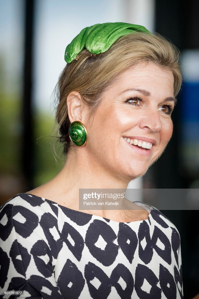 Queen Maxima of The Netherlands, in an outfit by Natan and hat by Fabienne Delving, attends the third opening of the European Academy of Neurology Congress on June 26, 2017 in Amsterdam, Netherlands.