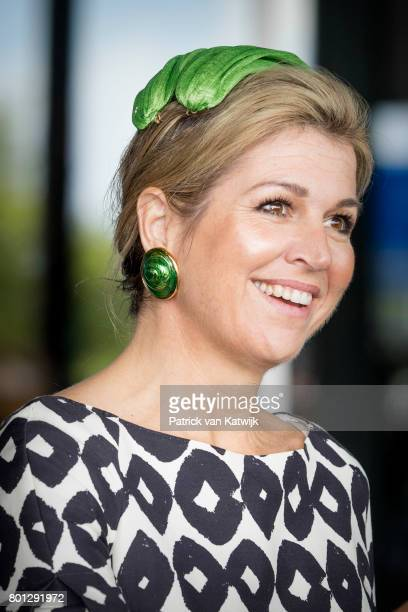 Queen Maxima of The Netherlands in an outfit by Natan and hat by Fabienne Delving attends the third opening of the European Academy of Neurology...
