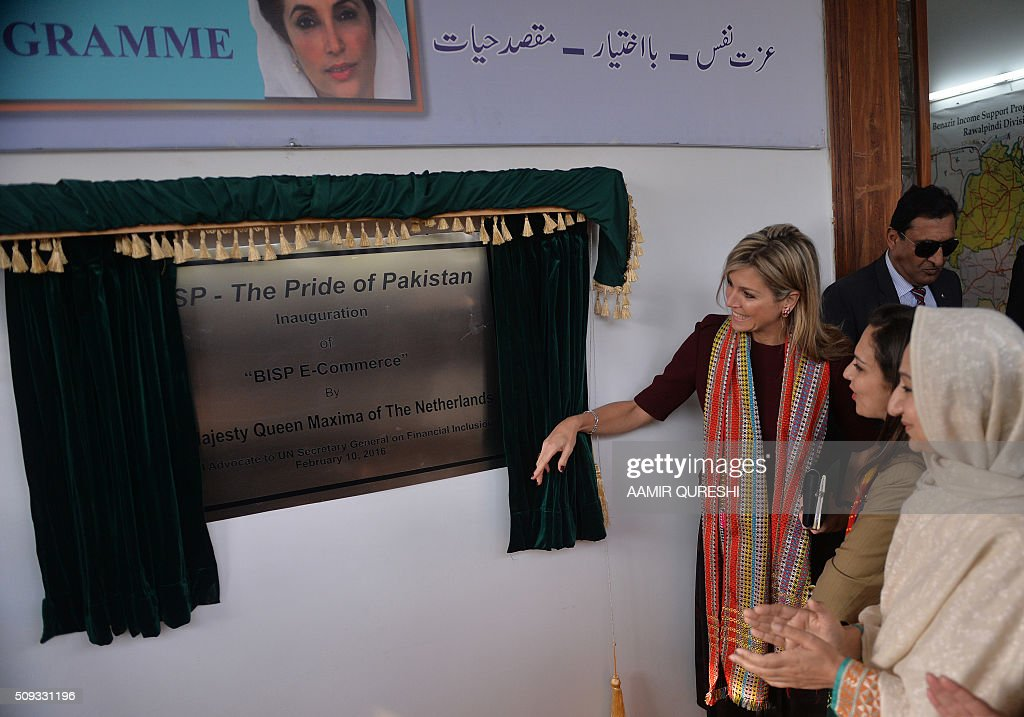 Queen Maxima (3rd R) of the Netherlands inaugurates the office of Benazir Income Support Programme (BISP) during her visit in Rawalpindi on February 10, 2016. Queen Maxima of the Netherlands, UN Secretary Generals Special Advocate (UNSGSA) for Inclusive Finance for Development, is in Pakistan on a three day official visit. AFP PHOTO / Aamir QURESHI / AFP / AAMIR QURESHI