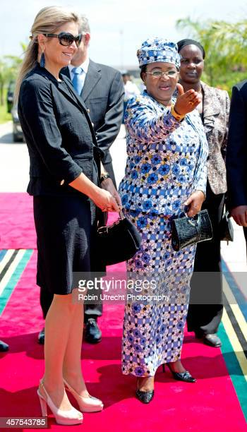 Queen Maxima of the Netherlands is greeted by First Lady of Tanzania Mama Salma Kikwete at Dar es Salaam Airport during her 5 day visit to Ethiopia...
