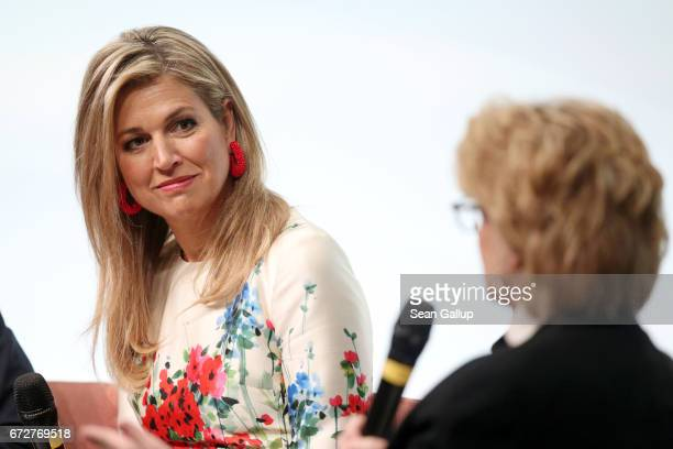 Queen Maxima of The Netherlands is seen on stage at the W20 conference on April 25 2017 in Berlin Germany The conference part of a series of events...