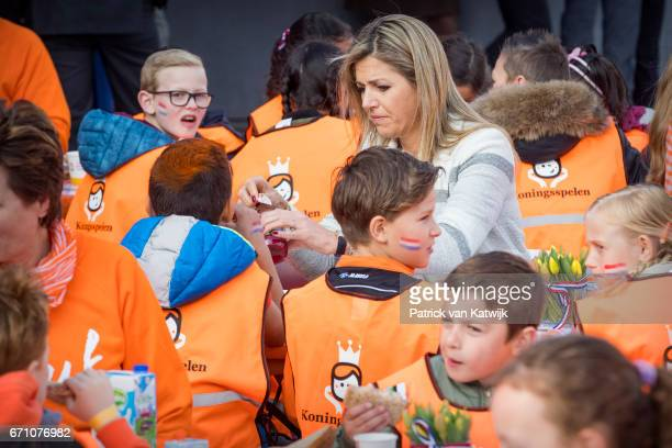 King WillemAlexander and Queen Maxima of The Netherlands join the King's Games breakfast at De Vijfmaster school on April 21 2017 in Veghel...