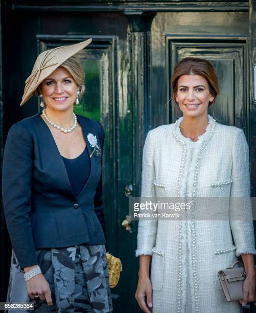 Queen Maxima of The Netherlands Juliana Awada visit the Anne Frank House on March 27 2017 in Amsterdam The Netherlands The President of Argentina is...