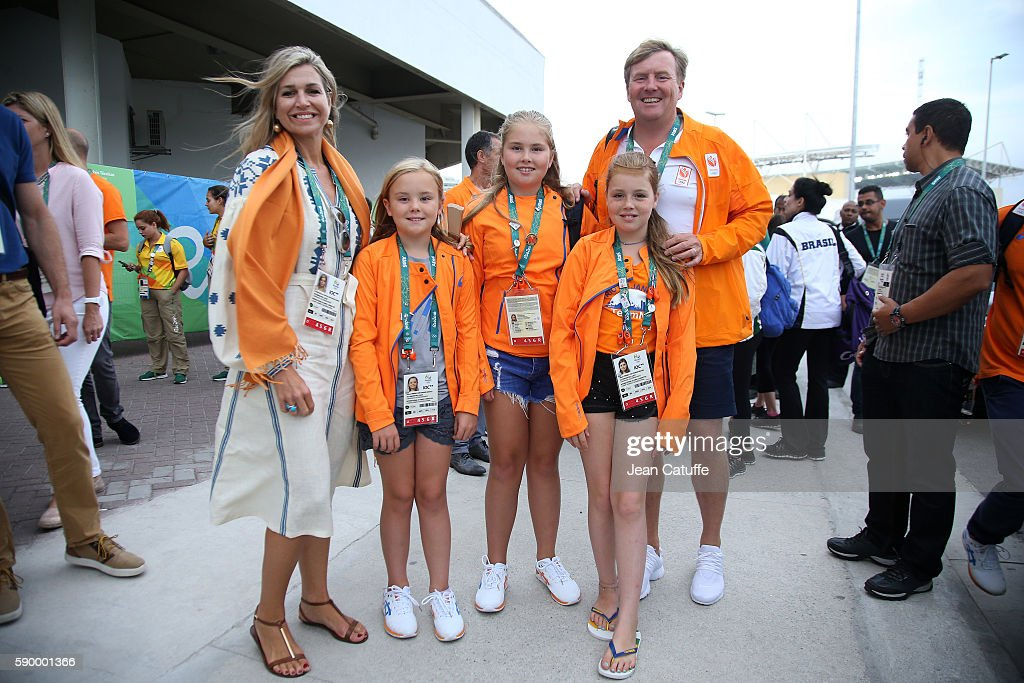 Queen Maxima of the Netherlands, King Willem-Alexander of the Netherlands and their daughters, Princess Ariane, Princess Catharina-Amalia, Princess Alexia leave the Arena after celebrating the gold medal of Sanne Wevers of the Netherlands at the Women's Balance Beam Final on day 10 of the Rio 2016 Olympic Games at Rio Olympic Arena on August 15, 2016 in Rio de Janeiro, Brazil.