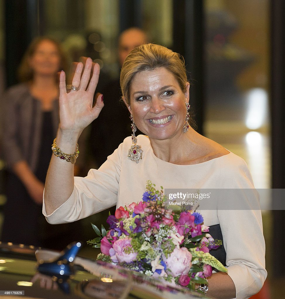 Queen Maxima of The Netherlands leaves after attending the opening of Holland Festival on June 1, 2014 in Amsterdam, Netherlands.