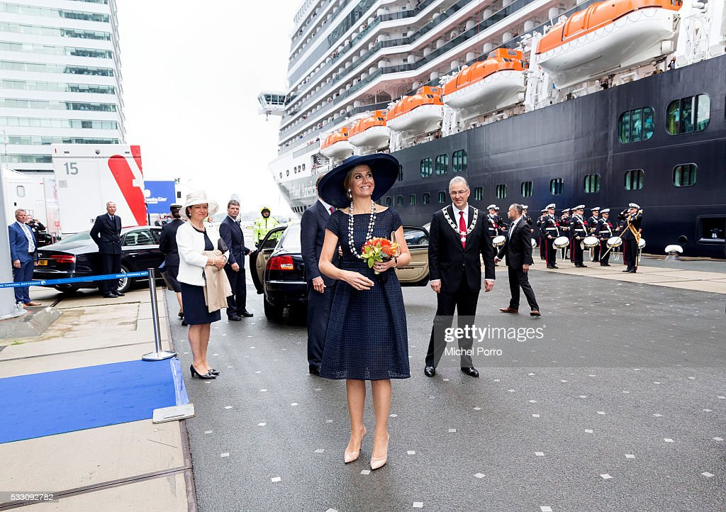 Queen Maxima of The Netherlands leaves after baptizing the cruise ship MS Koningsdam on May 20 2016 in Rotterdam Netherlands.