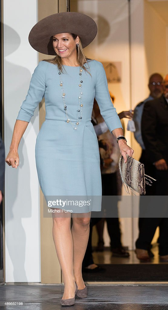 Queen Maxima of The Netherlands leaves after opening the new visitor center of the Netherlands Bank on September 22, 2015 in Amsterdam, Netherlands