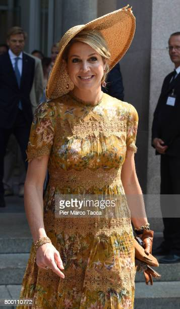 Queen Maxima of The Netherlands leaves Palazzo della Triennale on June 23 2017 in Milan Italy