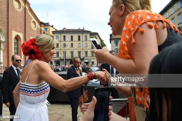 Queen Maxima of The Netherlands leaves the Cenacolo Vinciano in the Refectory of the Convent of Santa Maria delle Grazie on June 22 2017 in Milan...