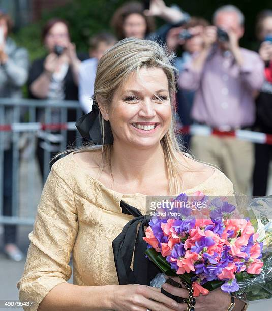 Queen Maxima of The Netherlands leaves the home for the elderly De Bolder after attending a jubilee concert celebrating 15 years Stichting Muziek in...