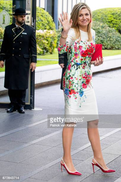 Queen Maxima of The Netherlands leaves the W20 conference on April 25 2017 in Berlin Germany The conference part of a series of events in connection...