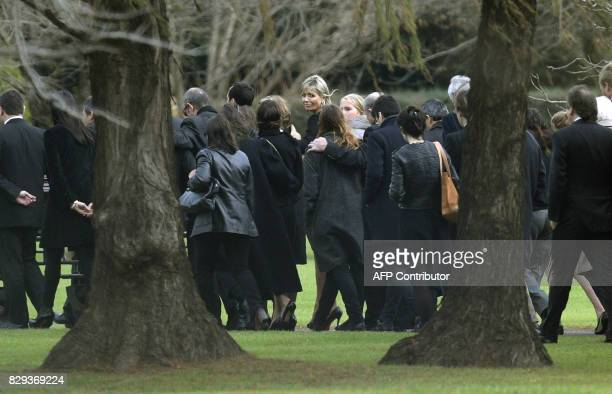 Queen Maxima of the Netherlands looks back as she accompanies along with friends and relatives the coffin of her father Jorge Zorreguieta during his...