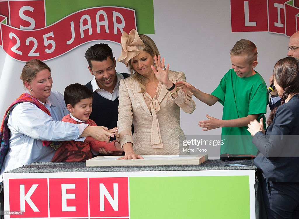 Queen Maxima of The Netherlands makes a hand print in plaster to open the new Koninklijke Kentalis diagnostic care education centre for people with a severe hearing and or vision disability on May 22, 2015 in Zoetermeer, Netherlands.