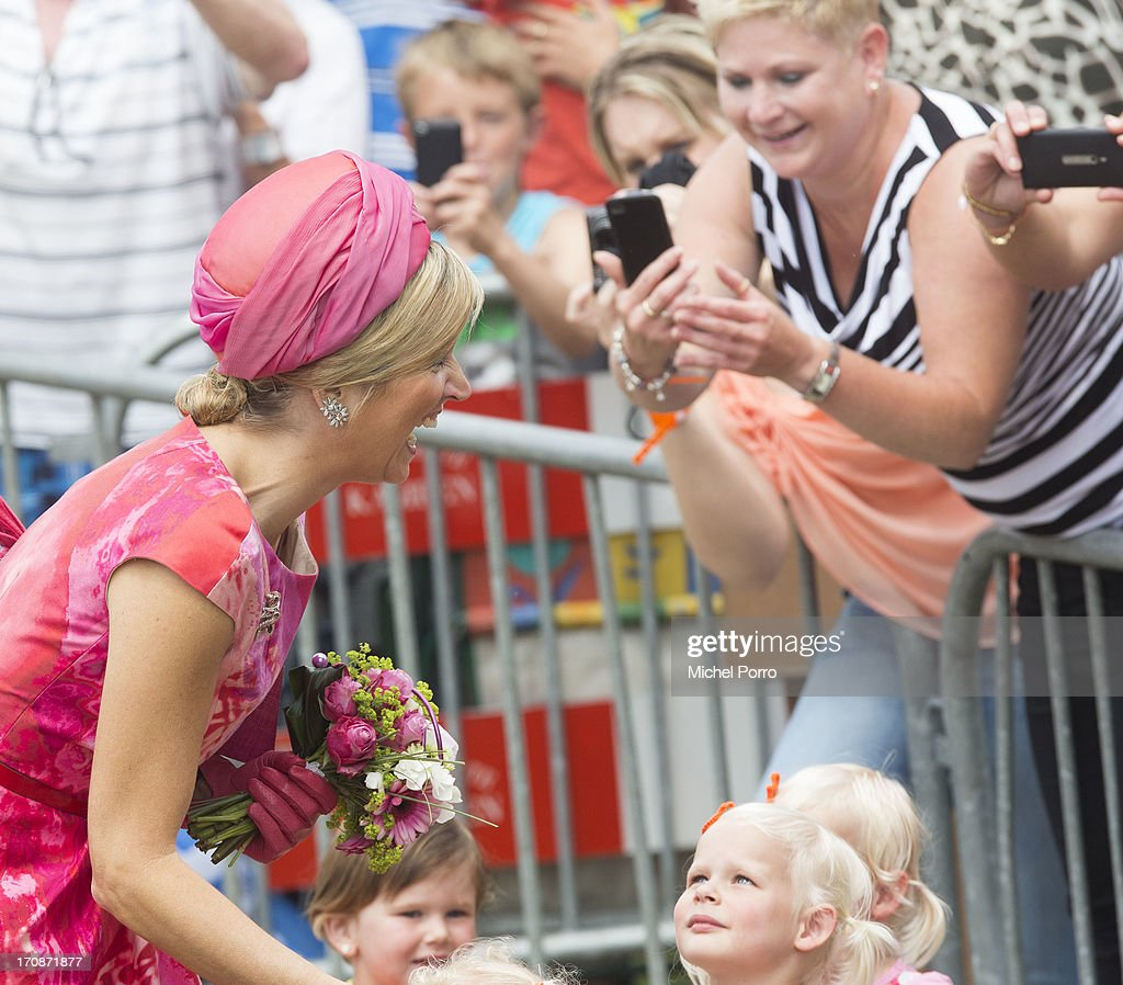 'S-HEERENBROEK, NETHERLANDS - JUNE 19: Queen Maxima of The Netherlands makes an official visit to the town centre on June 19, 2013 in 's-Heerenbroek, Netherlands.