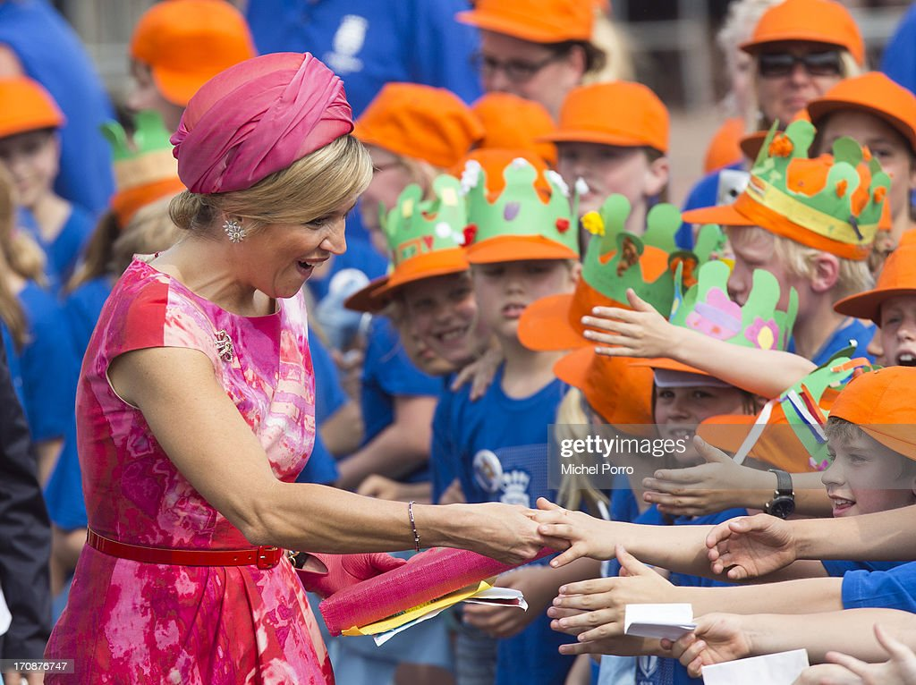 Queen Maxima of The Netherlands makes an official visit to the town centre on June 19, 2013 in Goor, Netherlands.