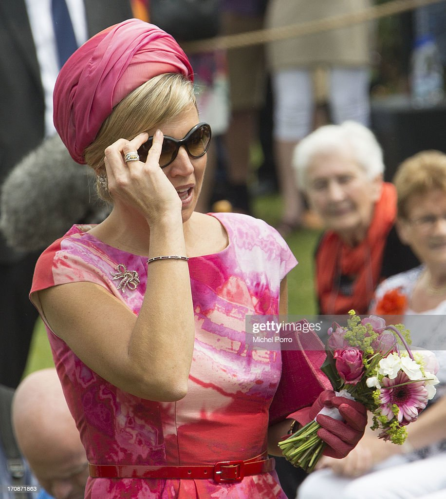 'S-HEERENBROEK, NETHERLANDS - JUNE 19: Queen Maxima of The Netherlands makes at official visit to the town centre on June 19, 2013 in 's-Heerenbroek, Netherlands.