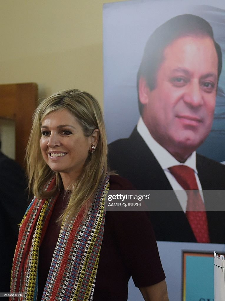 Queen Maxima of the Netherlands meets with beneficiaries of the Benazir Income Support Programme (BISP) in Rawalpindi on February 10, 2016. Queen Maxima of the Netherlands, UN Secretary Generals Special Advocate (UNSGSA) for Inclusive Finance for Development, is in Pakistan on a three day official visit. AFP PHOTO / Aamir QURESHI / AFP / AAMIR QURESHI