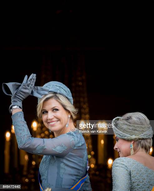 Queen Maxima of The Netherlands of the Netherlands and Princess Laurentien of The Netherlands at the balcony of Palace Noordeinde during Prinsjesdag...