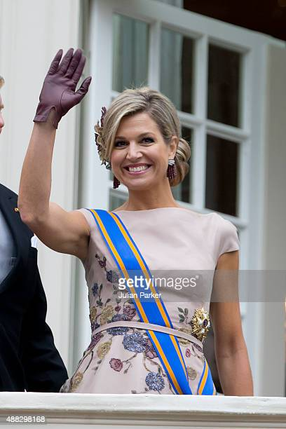 Queen Maxima of The Netherlands on the balcony of The Noordeinde Palace during Prinsjesdag on September 15 2015 in The Hague Netherlands