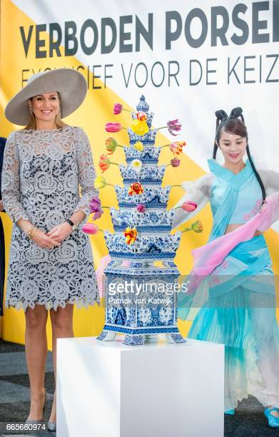 Queen Maxima of the Netherlands opens the exhibition 'Forbidden Porcelain Exclusive for the emperor' at museum Prinsenhof on April 7 2017 in Delft...