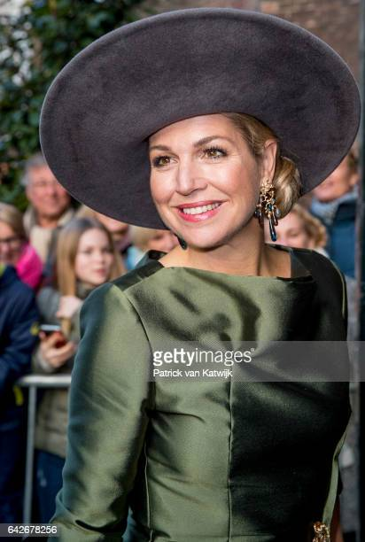 Queen Maxima of The Netherlands opens the exhibition Royal Paradise Aert Schulman and the imagination of nature in the Dordrechts Museum on February...