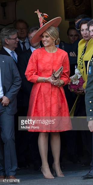Queen Maxima of The Netherlands opens the sculpture exhibition Vormidable on May 20 2015 in The Hague Netherlands